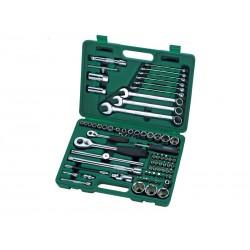 Trusa capete chei tubulare si accesorii 1/4&Prime , 1/2&Prime , 76 piese, Sata 09519