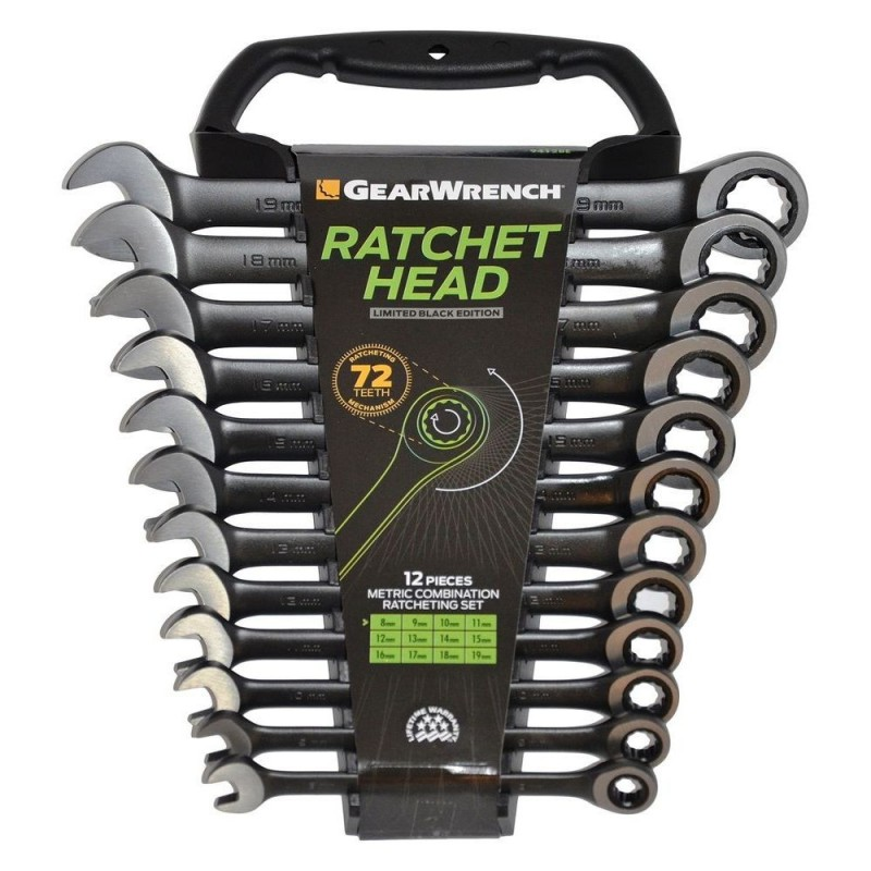 Set chei combinate cu clichet 8-19mm, 12 piese, GearWrench BLACK EDITION