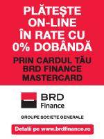 Plătește online în rate cu 0% dobândă prin cardul tău BRD Finance Mastercard