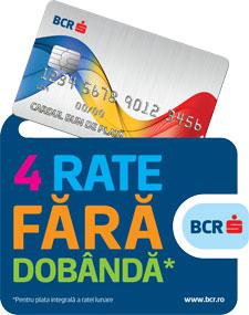 4 rate fără dobândă prin card de credit emis de BCR
